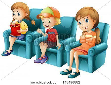 Children sitting on blue sofa illustration