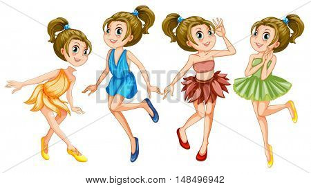 Women dressed in fancy clothes illustration