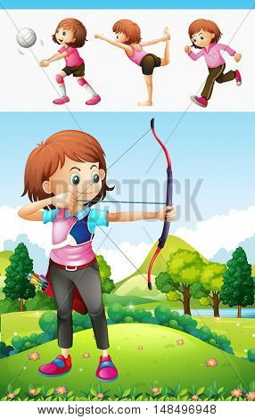 Archery and other sports girl illustration
