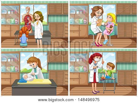 Doctor and patient at clinic illustration