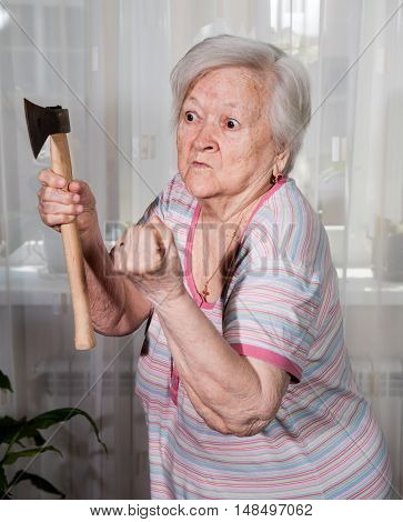 Angry Old Woman With An Ax