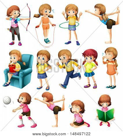 Girls exercising and doing various activities