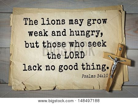 TOP-1000.  Bible verses from Psalms.The lions may grow weak and hungry, but those who seek the LORD lack no good thing.