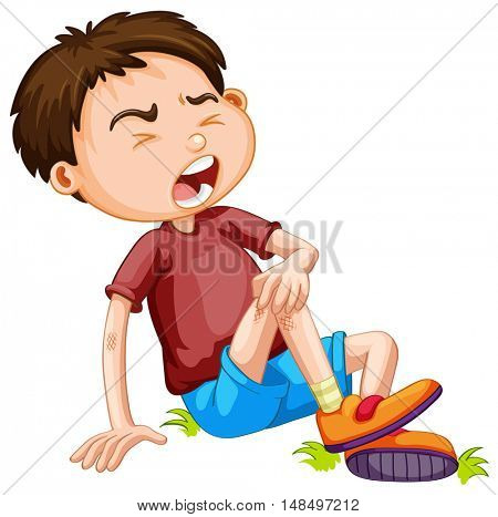 Boy hurting from accident illustration
