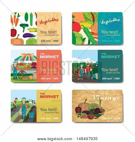 Store fruits and vegetables. Set of sale discount gift card. Branding design for vegetable market