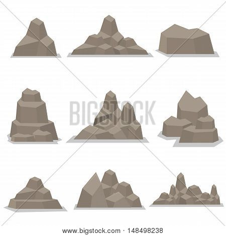 Flat stones vector art illustration collection stock