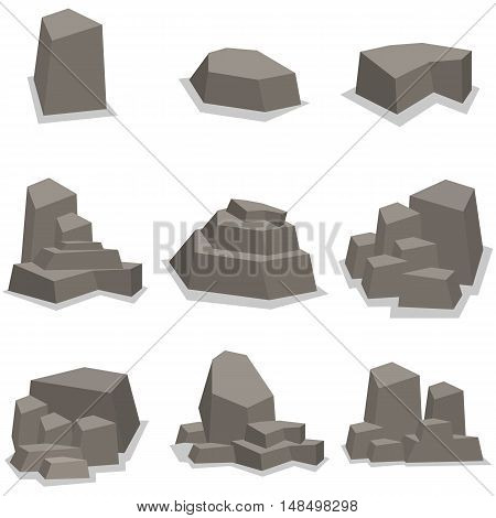Stones and rock set collection vector art illustration