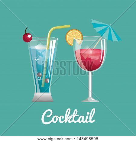 two cocktail glass with straw and umbrella design vector illustration eps 10