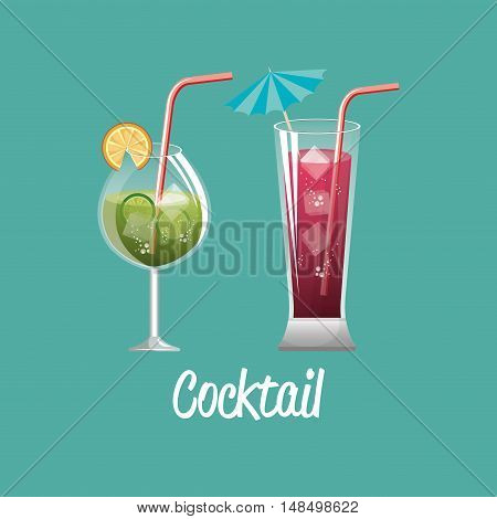 cocktail glass red and green design vector llustration eps 10