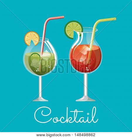 cocktail glass drink design vector illustration eps 10