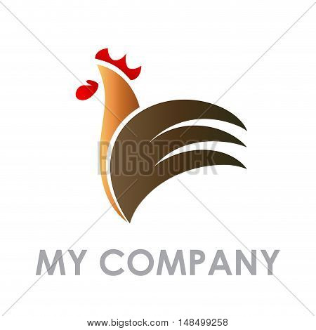 Vector sign abstract shape Rooster isolated illustration