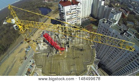 Construction site of a high residential building, aerial view