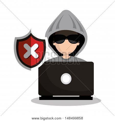 technology laptop hacker warning design graphic vector illustration eps 10
