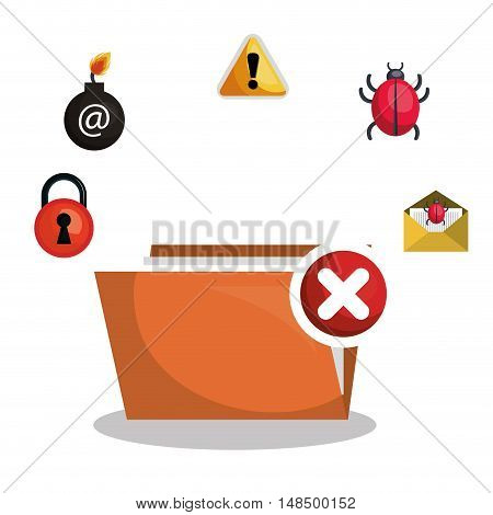folder file virus alert graphic vector illustration eps 10