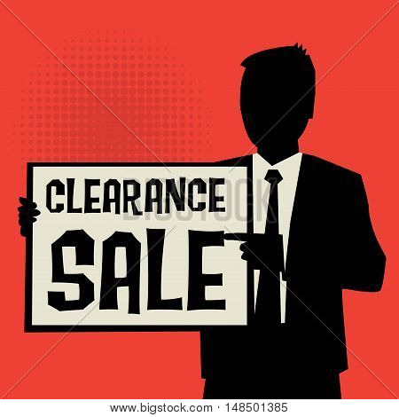 Man showing board business concept with text Clearance Sale vector illustration