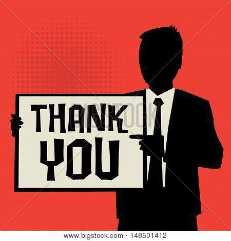 Man showing board business concept with text Thank You vector illustration