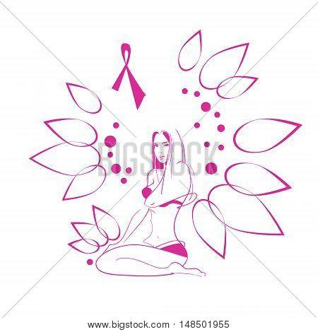 Pink Flower Breast Cancer Awareness Female Body Vector Illustration