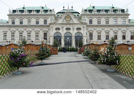 VIENNA AUSTRIA - NOVEMBER 23 2013: Belvedere Palace with Christmas decoration.