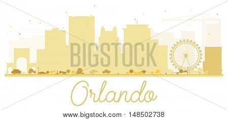 Orlando City skyline golden silhouette. Simple flat concept for tourism presentation, banner, placard or web site. Cityscape with landmarks
