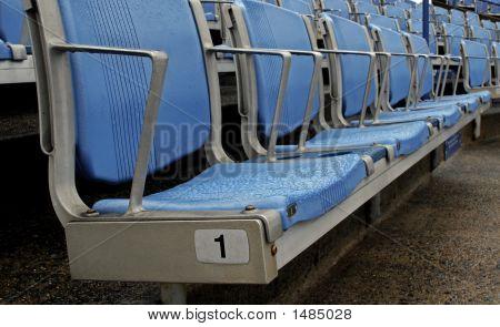Blue Stadium Seats In A Row