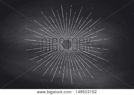 Light rays, sunburst and rays of sun on black chalkboard. Linear drawing. Vintage hipster style. Light rays sunburst for retro logo, emblem. Vector Illustration
