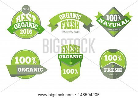 Green organic natural labels set. Element badge banner, vector illustration