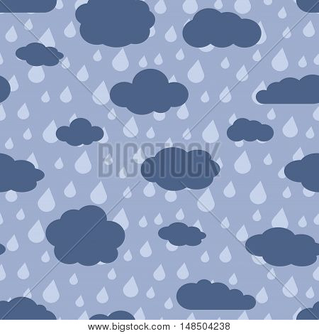 Vector rainy weather seamless pattern. Background with rain clouds. Vector illustration