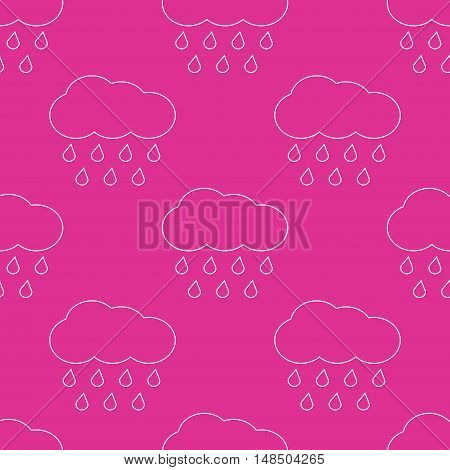 Outline vector rainy clouds seamless pattern. Weather nature rain illustration