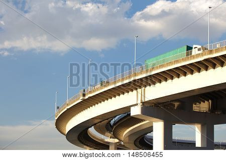 Close - up Turning bridge and expressway in the city