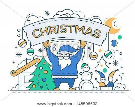 Merry Christmas line flat design card with holidays symbols - Santa Claus, Christmas tree, snowman, banner