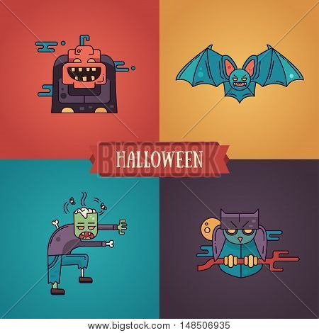 Halloween - modern vector line flat design characters icons set. Funny scary pumpkin, bat, zombie, owl