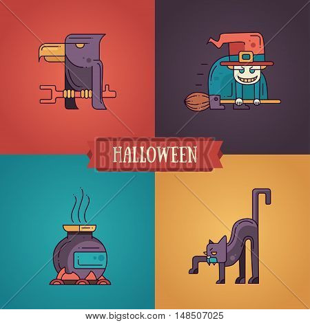 Halloween - modern vector line flat design characters icons set. Funny scary raven, witch, pot, cat