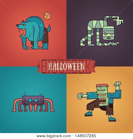 Halloween - modern vector line flat design characters icons set. Funny scary warewolf, mummy, spider, ghoul