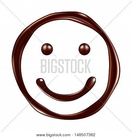 face made of chocolate syrup. Vector Illustration