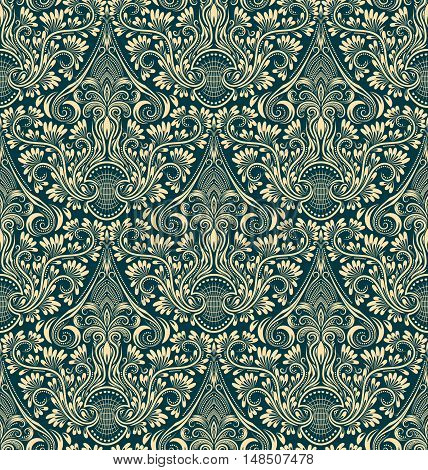 Damask seamless pattern repeating background. Ivory green floral ornament in baroque style.