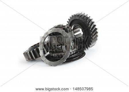 Machinery concept. Set of various gears on white background. Clipping path is included