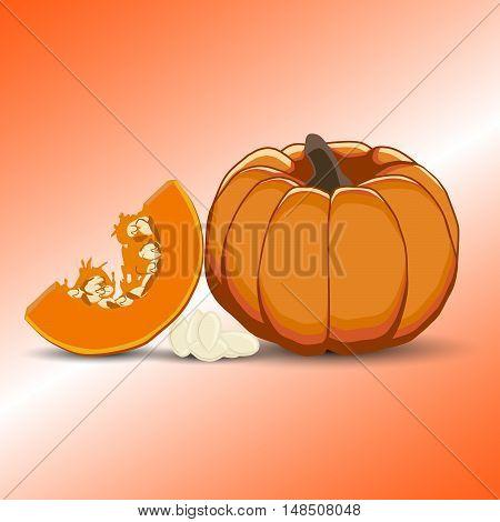 Vector illustration of logo for yellow pumpkin