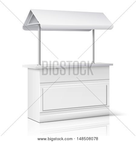 Market, store empty stand for trade information and business presentation vector illustration. Promotion counter, kiosk and promo stall