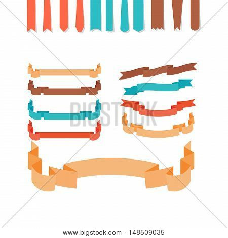 Flat style ribbons set isolated on white. Vector illustration