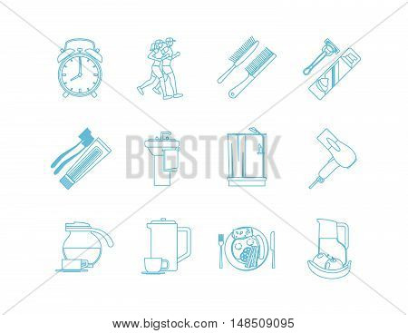 Good Morning Time Line Art Icons. Jogging and shower, breakfast and makeup. Vector illustration