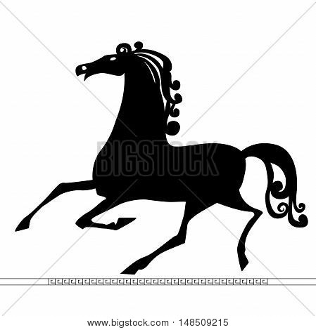 Vector - Running Horse Silhouette flat cartoon vector illustration. Eps10. Isolated on a white background.
