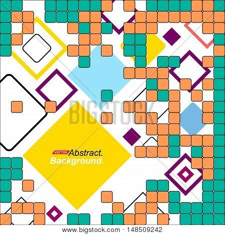 Abstract Concept. Minimalistic Backdrop Design. Patch Orange, Blue, Yellow, Green Flying Square Icon