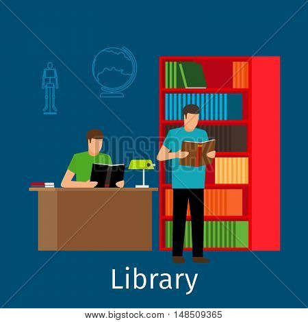 Education concept. Reading in library vector illustration