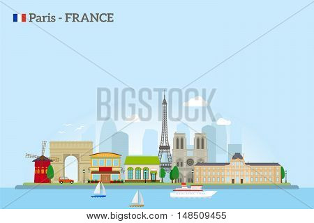 Paris skyline in flat style. Colrfus illustration on sky blue background. Vector icon