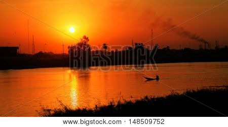 Landscapeof Euphrates river in Nasiriyah city at the sunset Iraq
