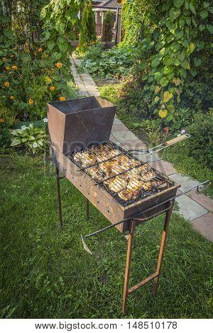 Frying meat on a brazier in the backyard.