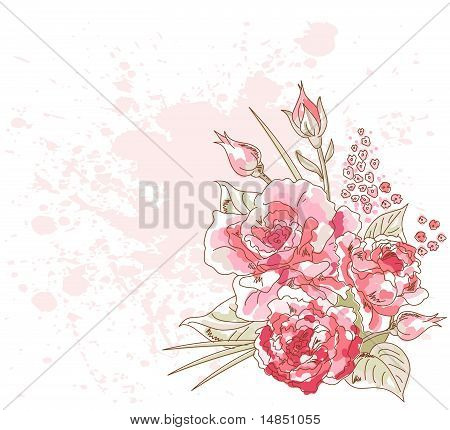Romantic  Background With Roses
