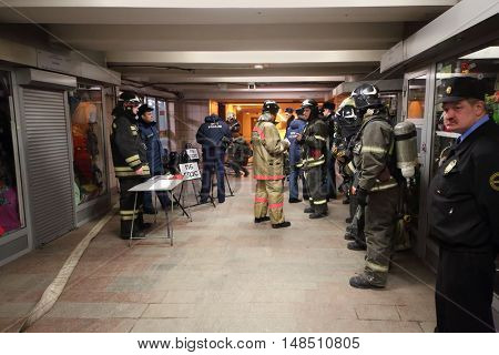 RUSSIA, MOSCOW - FEB 26, 2015: Many people from Ministry of Emergency Situations are training at Preobrazhenskaya ploshchad subway.