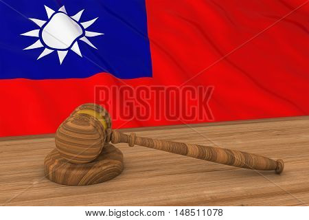 Taiwanese Law Concept - Flag Of Taiwan Behind Judge's Gavel 3D Illustration