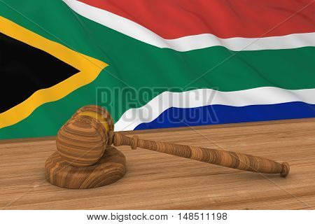 South African Law Concept - Flag Of South Africa Behind Judge's Gavel 3D Illustration